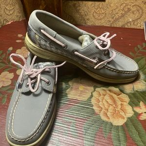 SPERRY top-sider Grey leather EUC 6